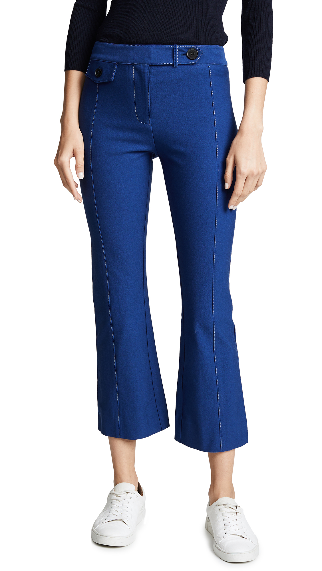 Derek Lam 10 Crosby Cropped Flare Trousers - Military/Blue