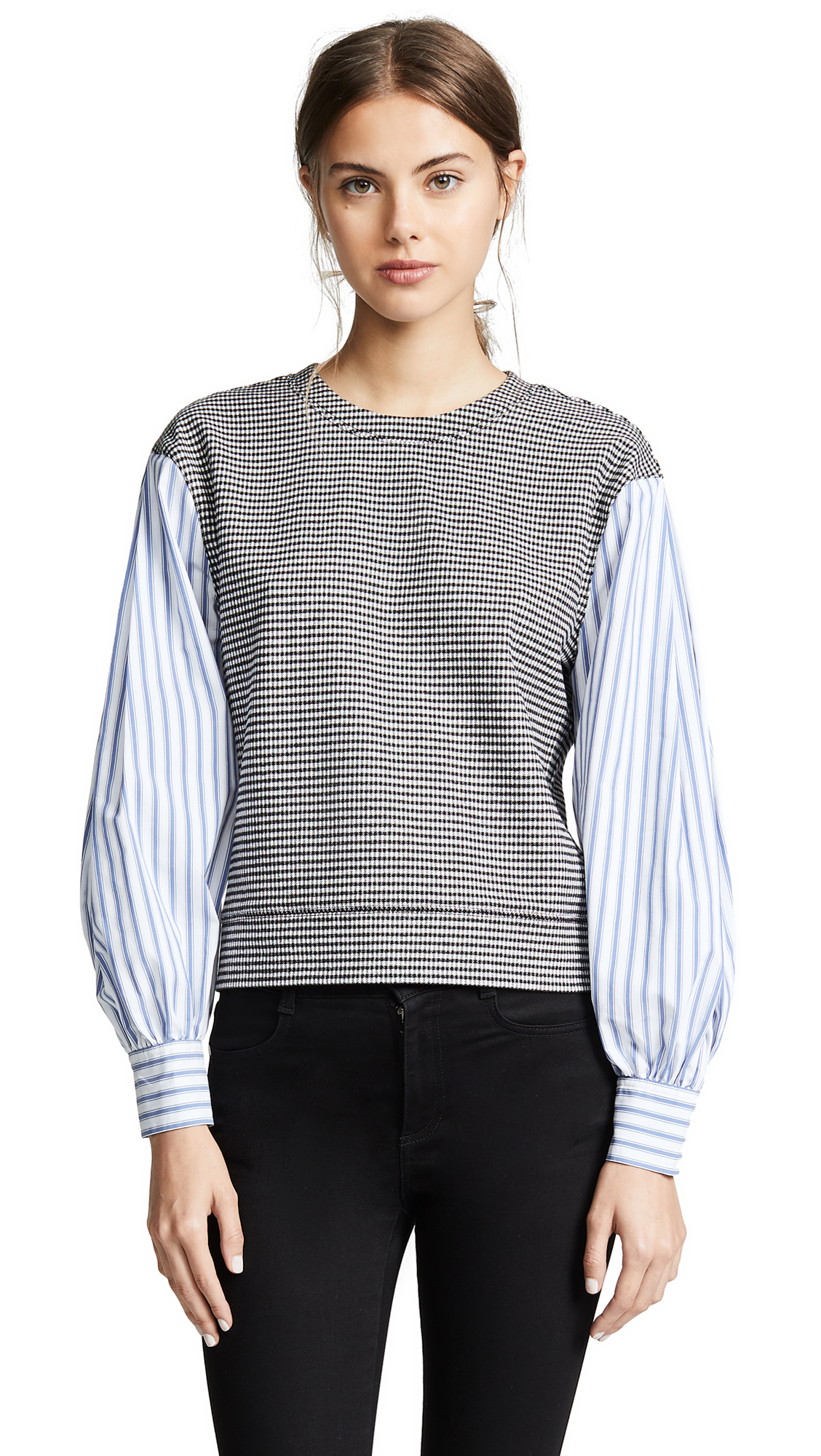 Derek Lam 10 Crosby Plaid Sweatshirt With Shirting Sleeves In Black-White