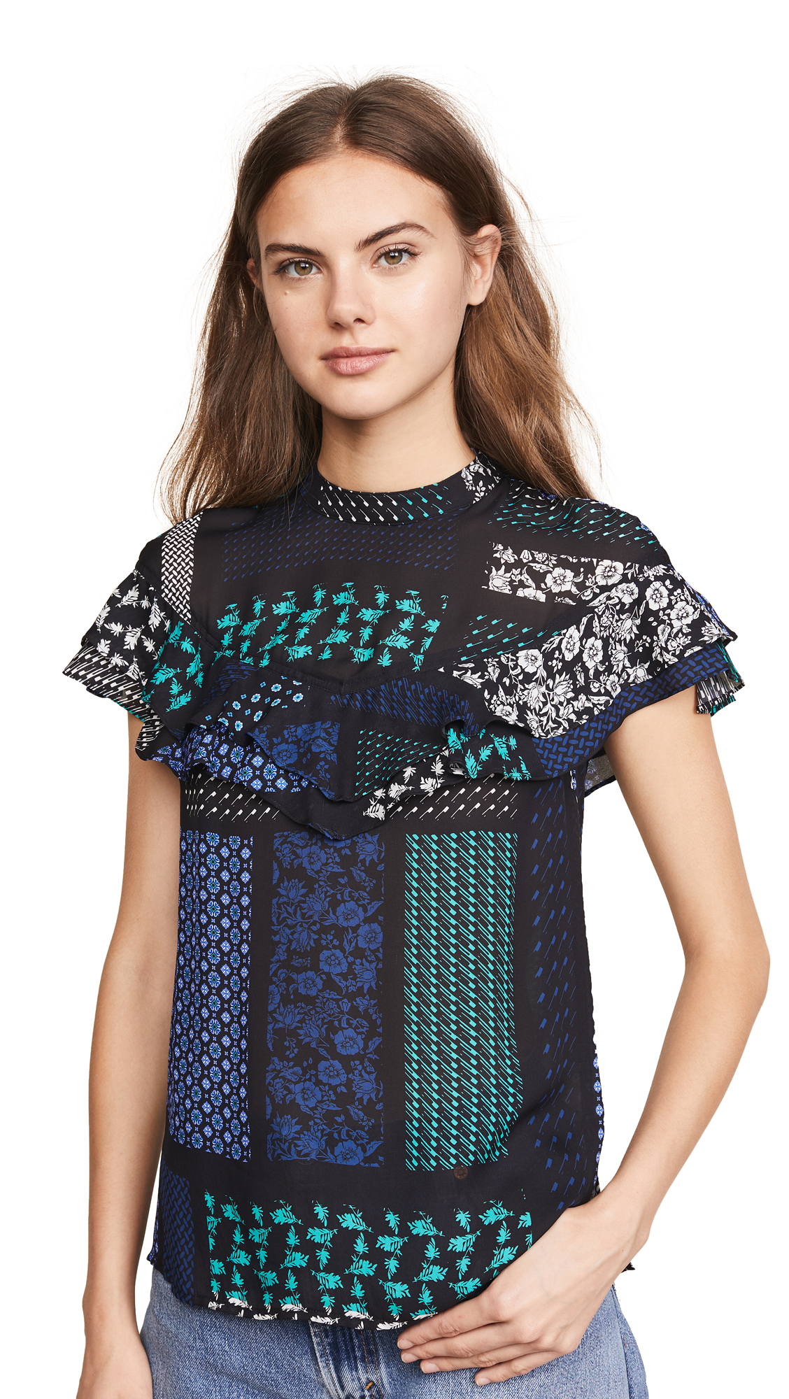 Derek Lam 10 Crosby Ruffle Blouse In Black Multi