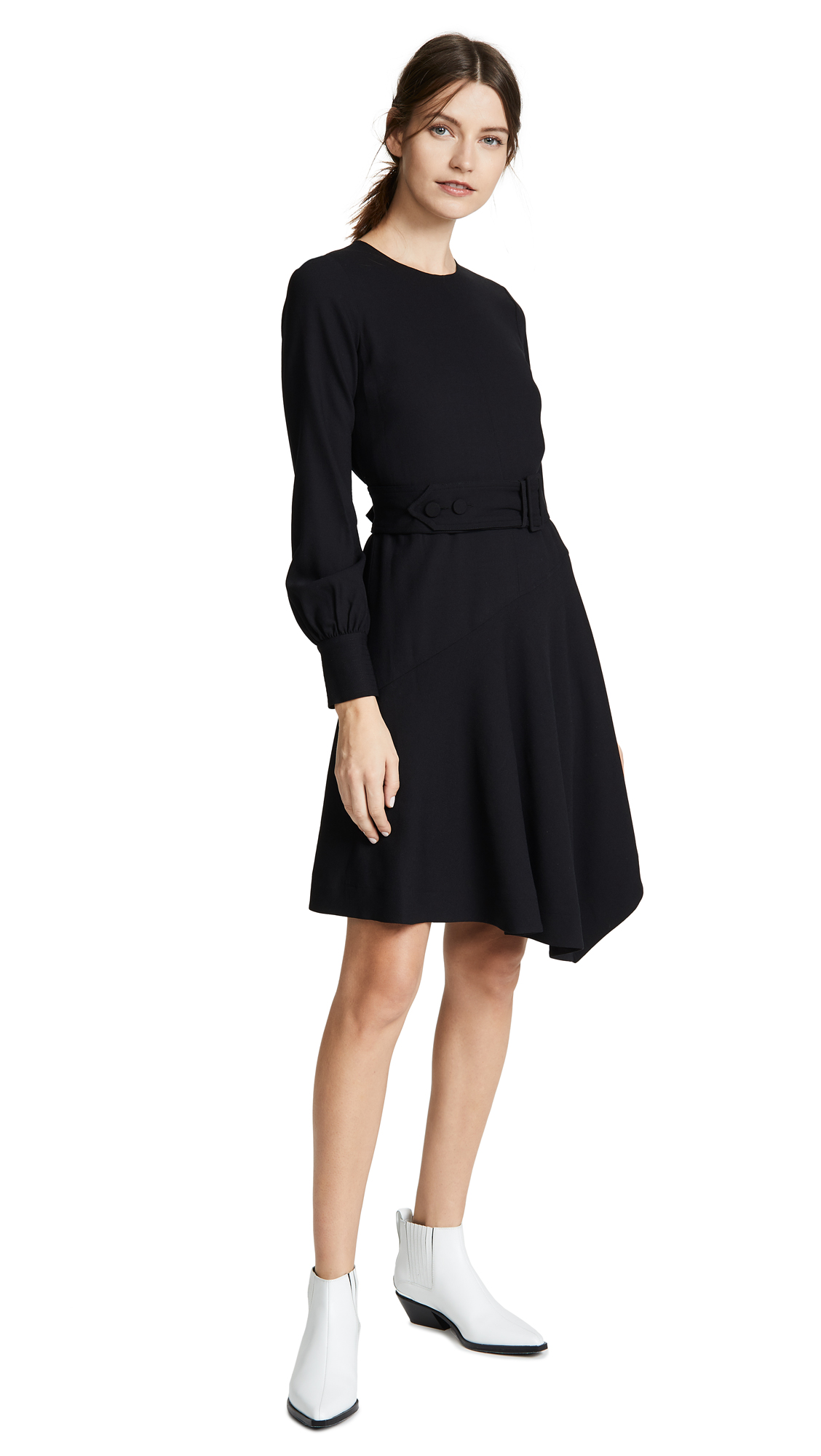 Belted Asymmetrical Dress in Black