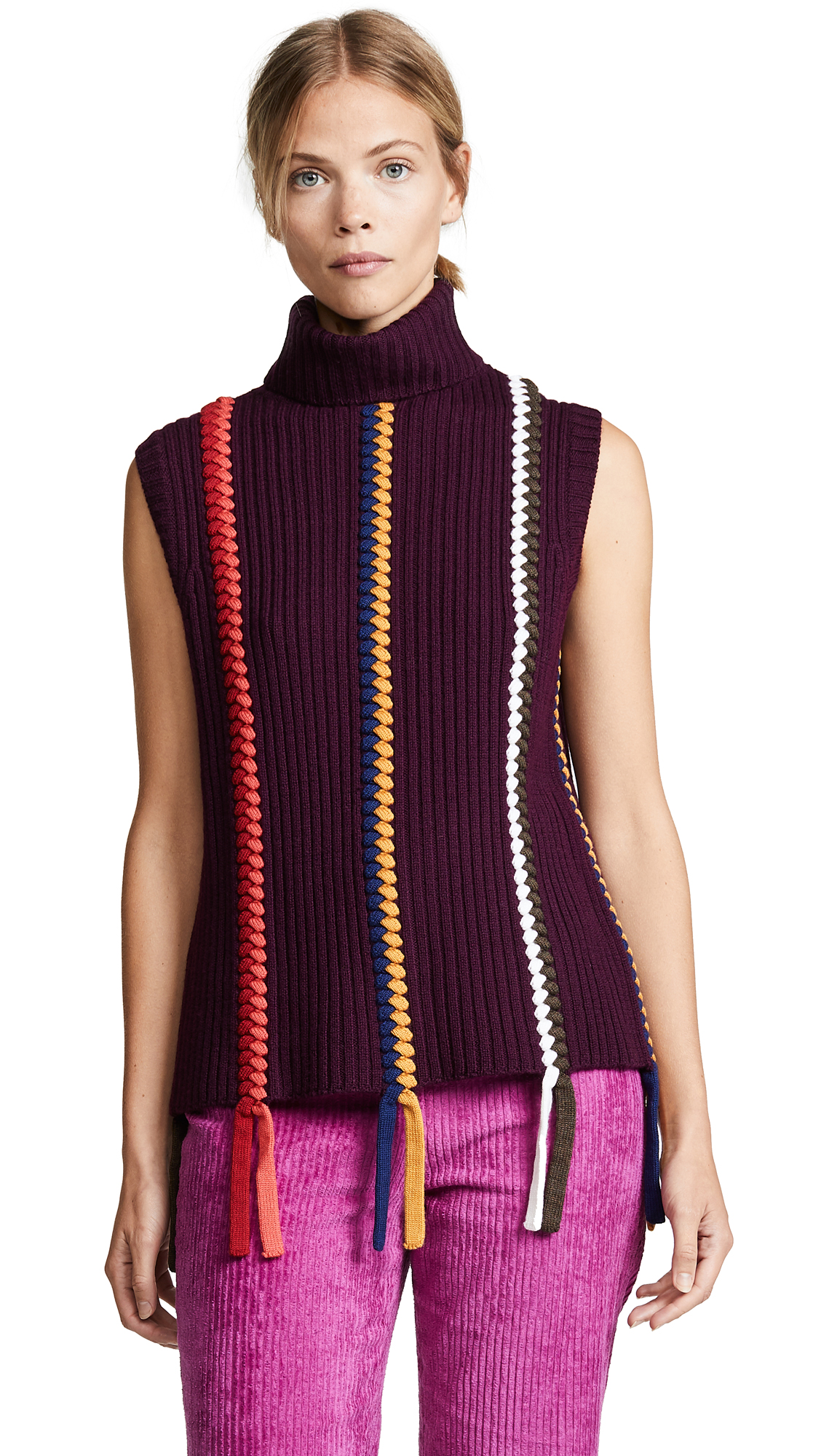 Derek Lam 10 Crosby Sleeveless Turtleneck With Braid Detail In Burgundy Multi