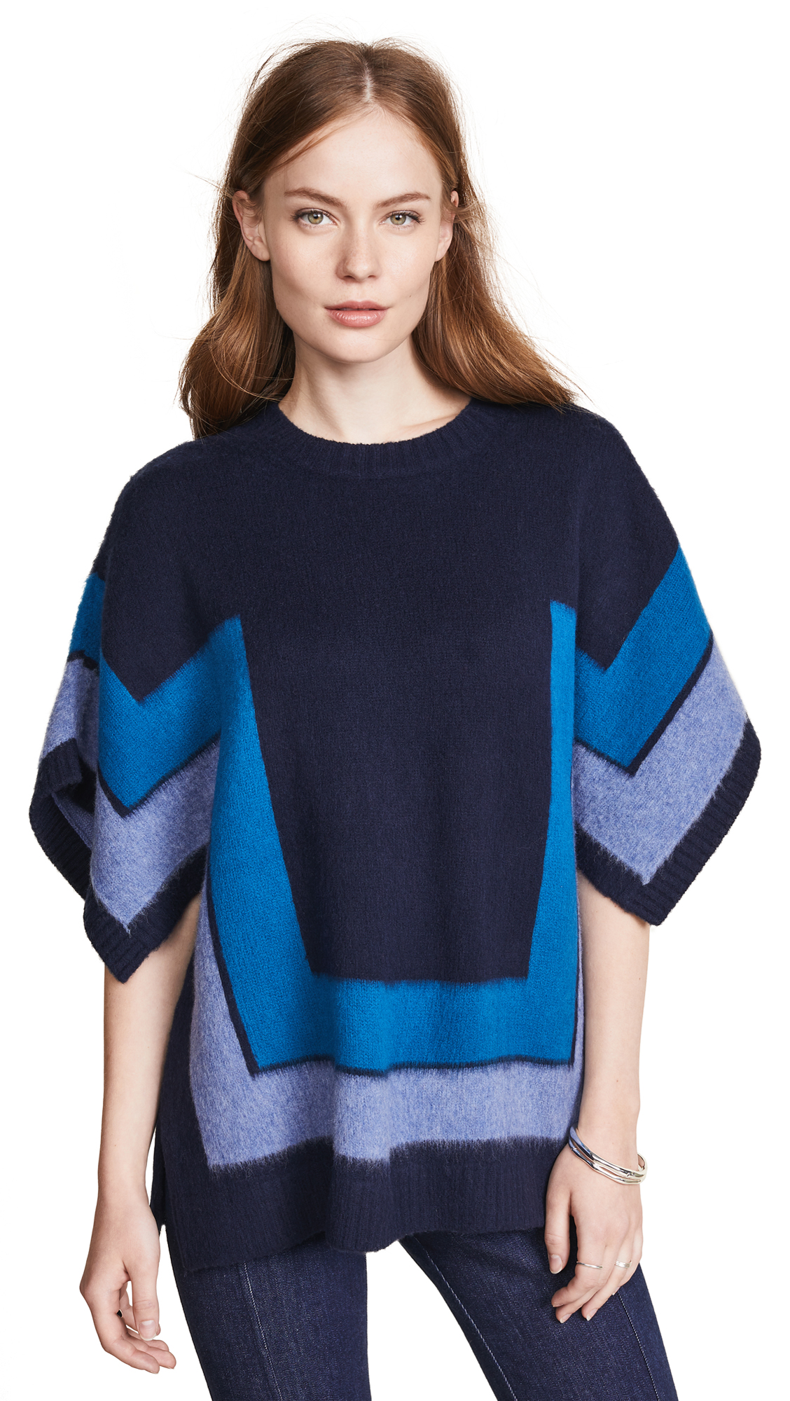 Derek Lam 10 Crosby Blanket Sweater In Blue Multi