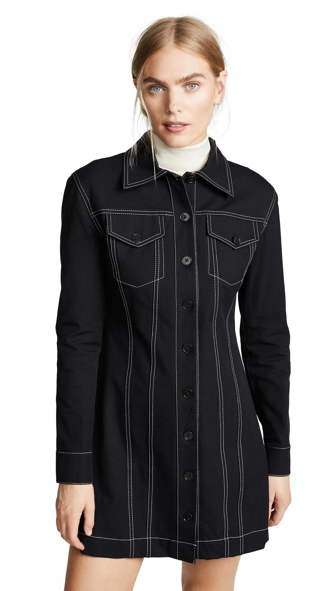 Derek Lam 10 Crosby Button-Down Dress With Top Stitching In Black