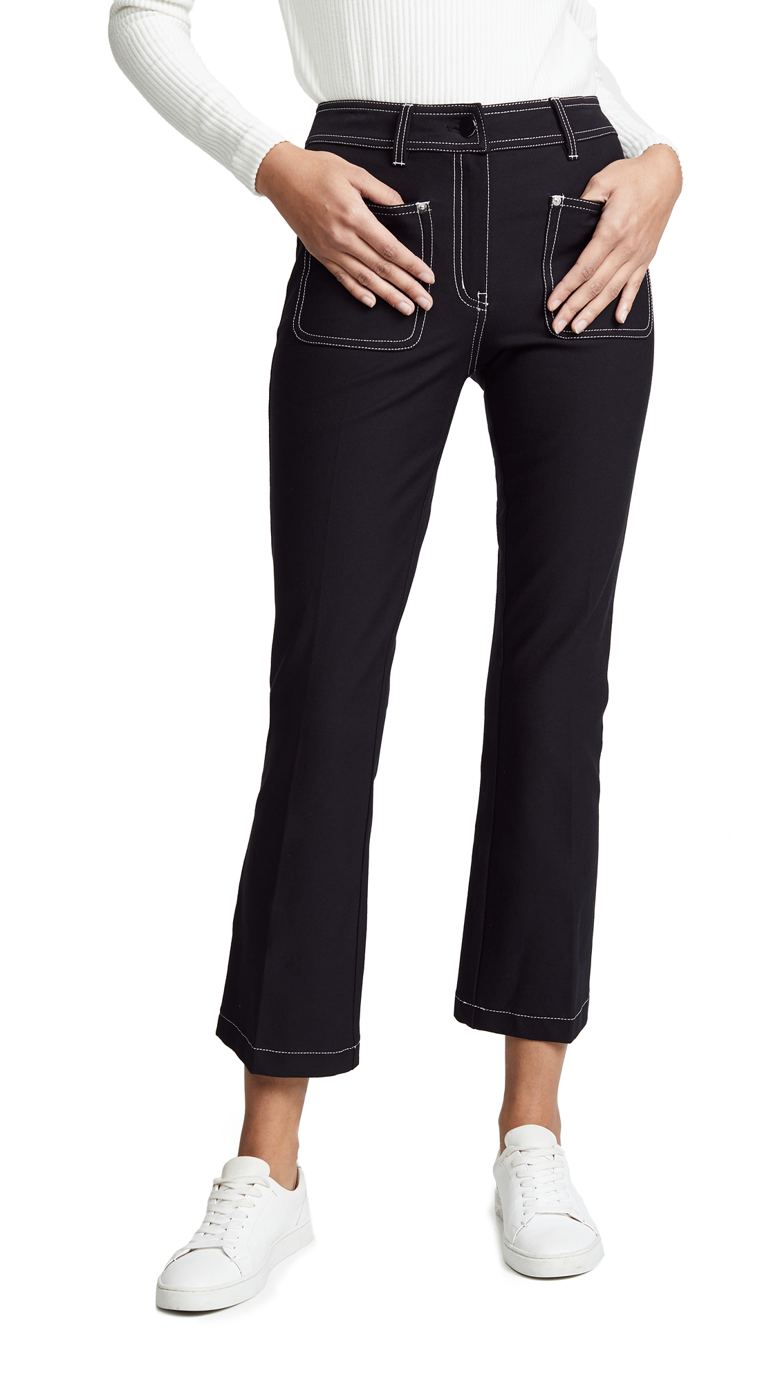 Derek Lam 10 Crosby Cropped Flare Trousers with Patch Pockets - Black