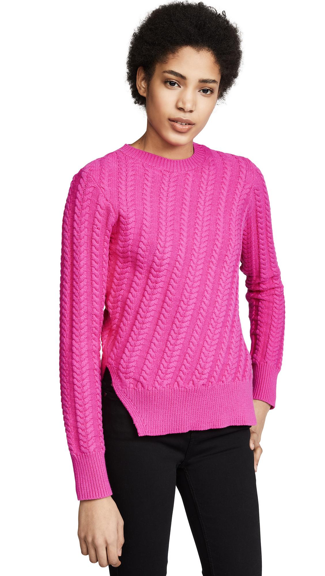 Derek Lam 10 Crosby Crew Neck Sweater - Hot Pink