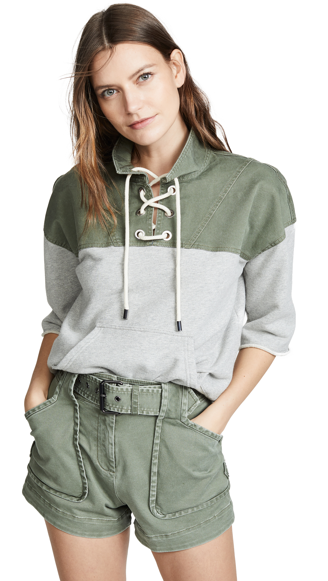 Derek Lam 10 Crosby Lace Up Sweatshirt - Army/Grey
