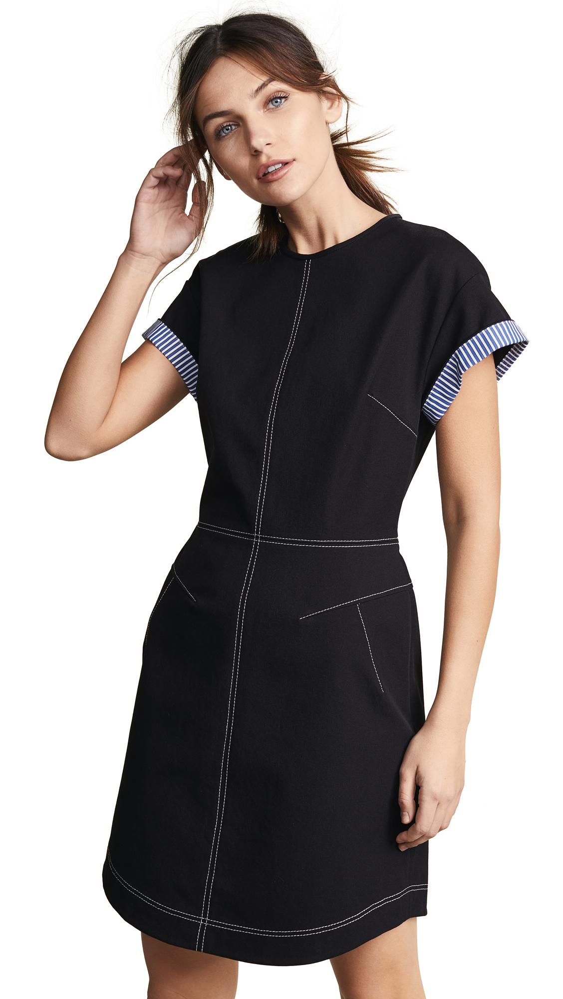 Derek Lam 10 Crosby Short Sleeve Crew Neck Dress - Black