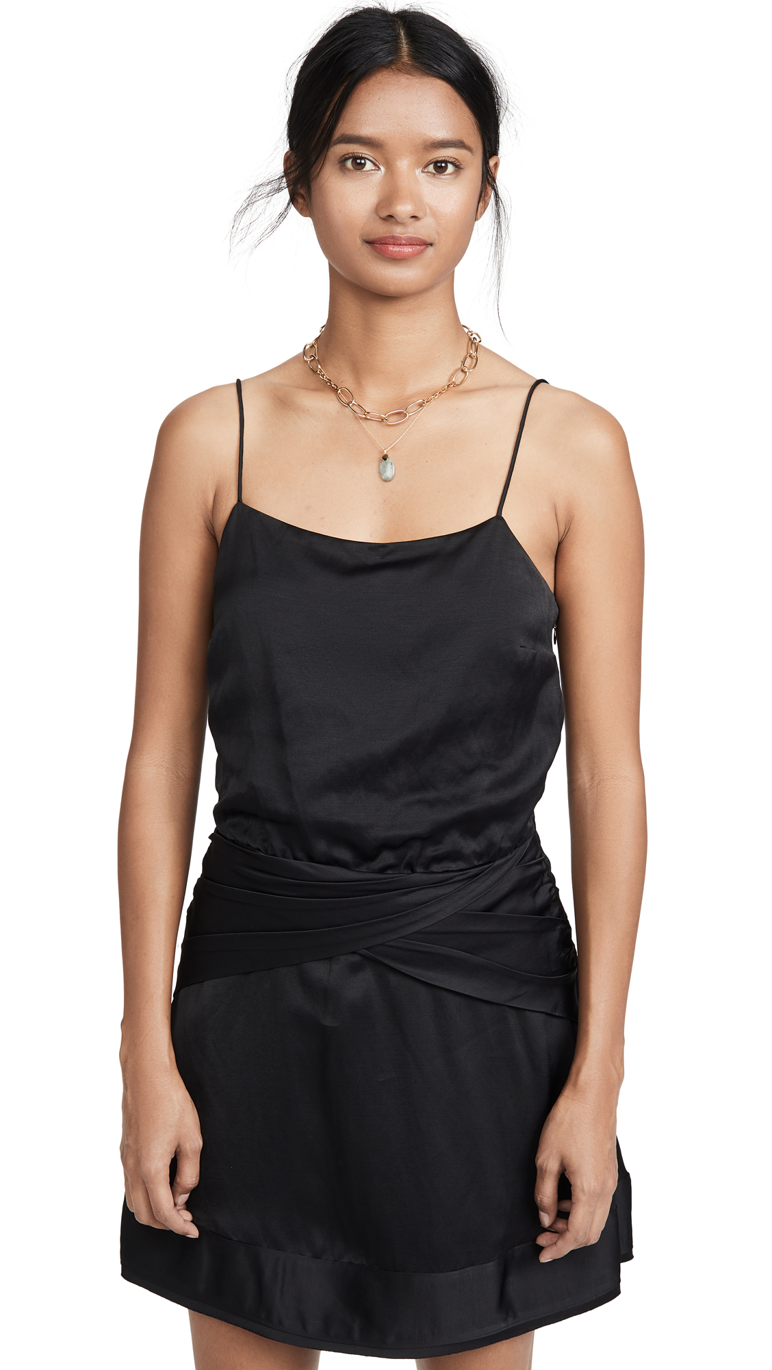 Buy Derek Lam 10 Crosby online - photo of Derek Lam 10 Crosby Cami Flounce Mini Dress with Twist Waist Detail