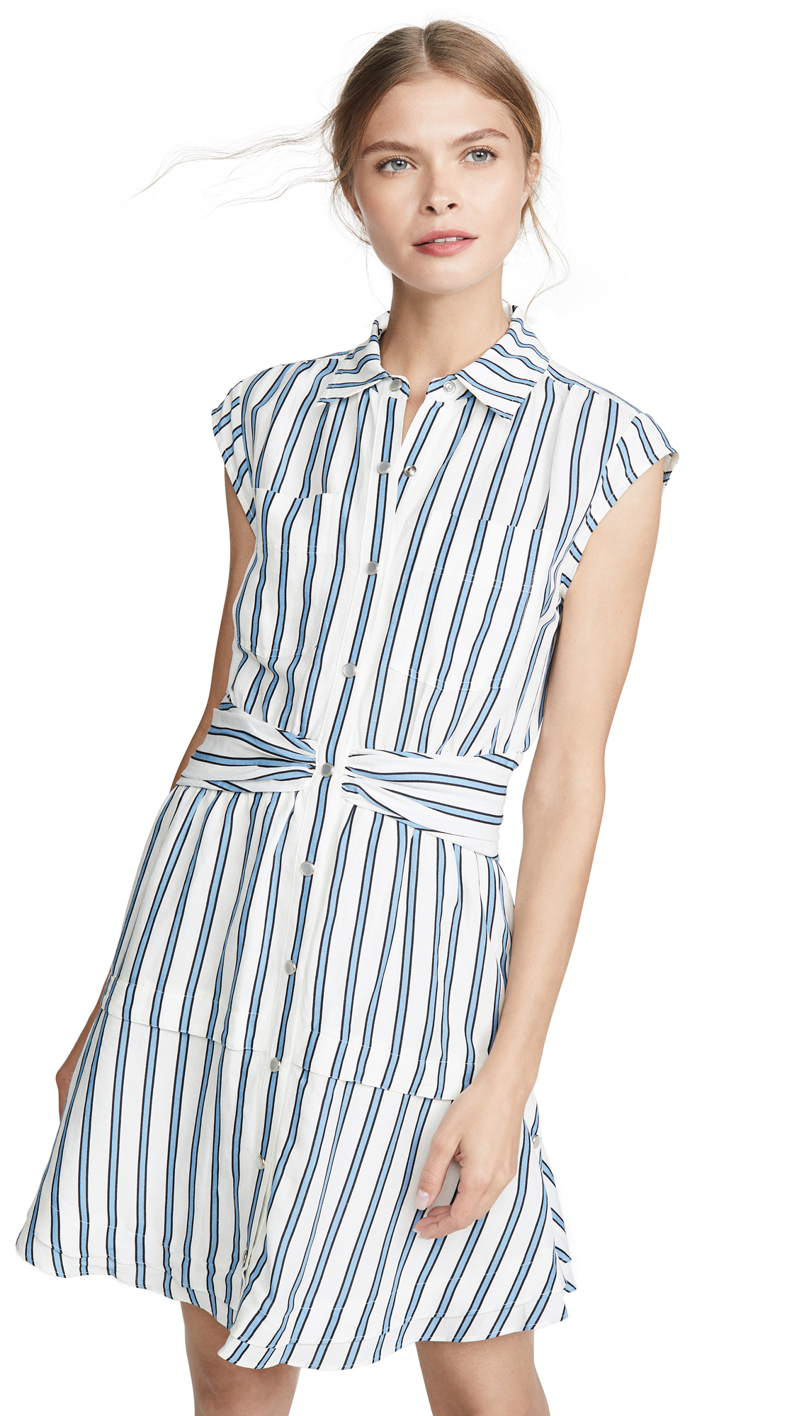 Buy Derek Lam 10 Crosby online - photo of Derek Lam 10 Crosby Sleeveless Shirtdress with Twist Waist Detail