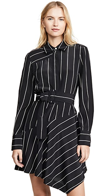 Derek Lam 10 Crosby Belted Asymmetric Shirtdress