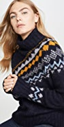 Derek Lam 10 Crosby Diagonal Fair Isle Turtleneck Sweater