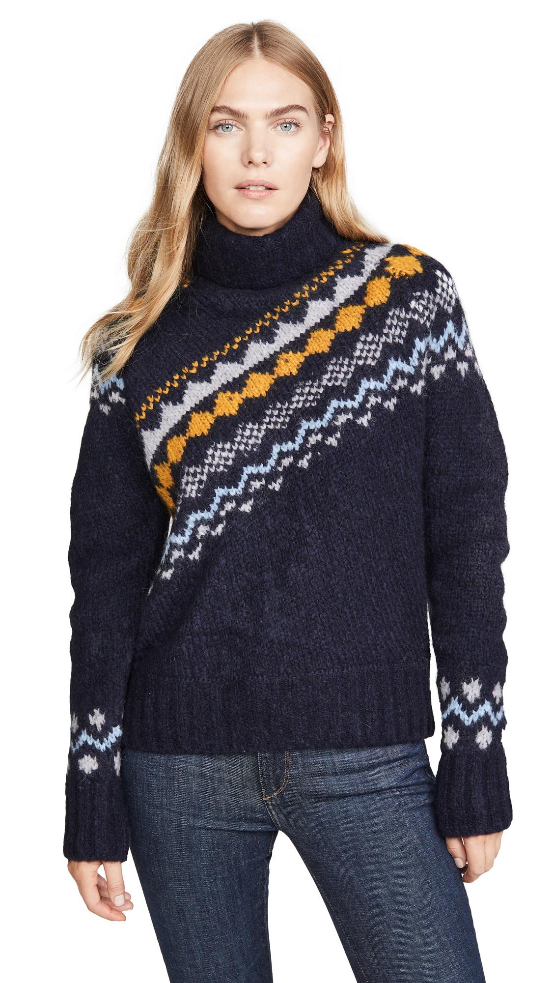 Buy Derek Lam 10 Crosby online - photo of Derek Lam 10 Crosby Diagonal Fair Isle Turtleneck Sweater