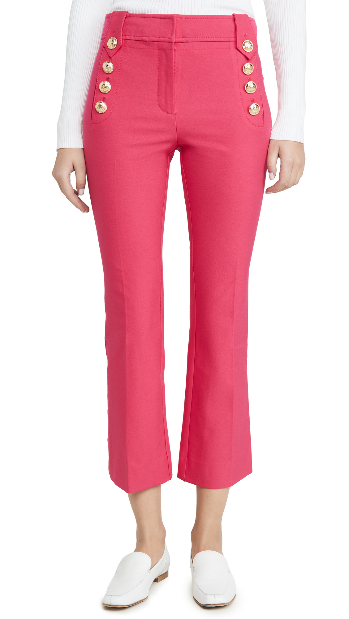 Buy Derek Lam 10 Crosby online - photo of Derek Lam 10 Crosby Robertson Cropped Flare Trousers with Sailor Buttons
