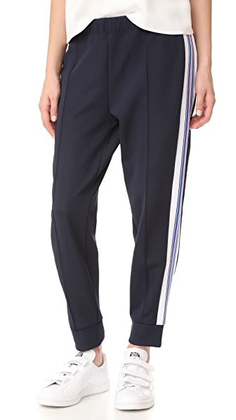 Etre Cecile Stripe Rib Cropped Track Pants - Dark Navy