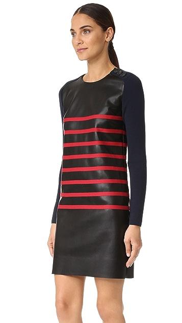 Cedric Charlier Stripe Leather Dress