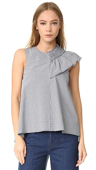 Cedric Charlier Sleeveless Blouse - Fantasy Print Blue