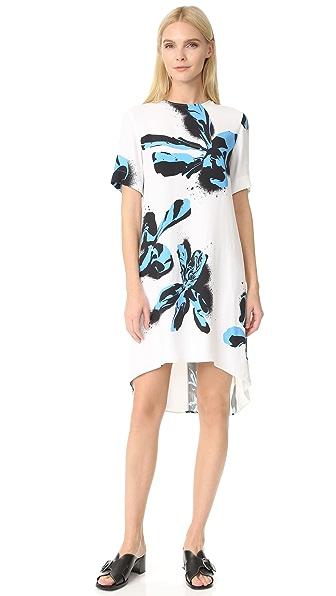 Cedric Charlier Short Sleeve Printed Dress - Fantasy Print White
