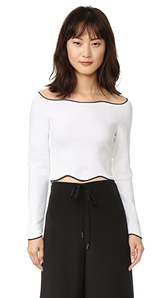 Cedric Charlier Cropped Long Sleeve Sweater