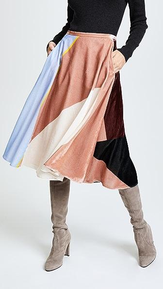 Cedric Charlier Midi Skirt - Black/Red