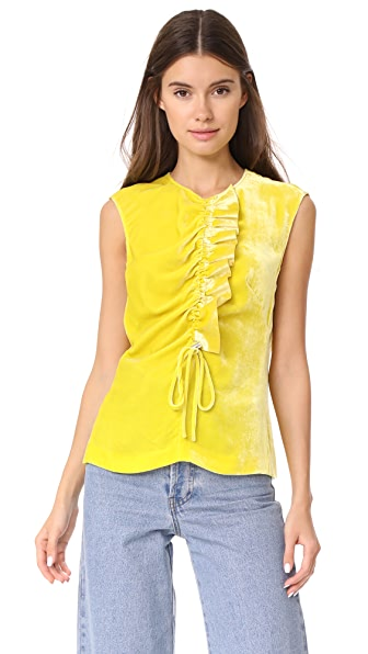Cedric Charlier Sleeveless Blouse In Yellow