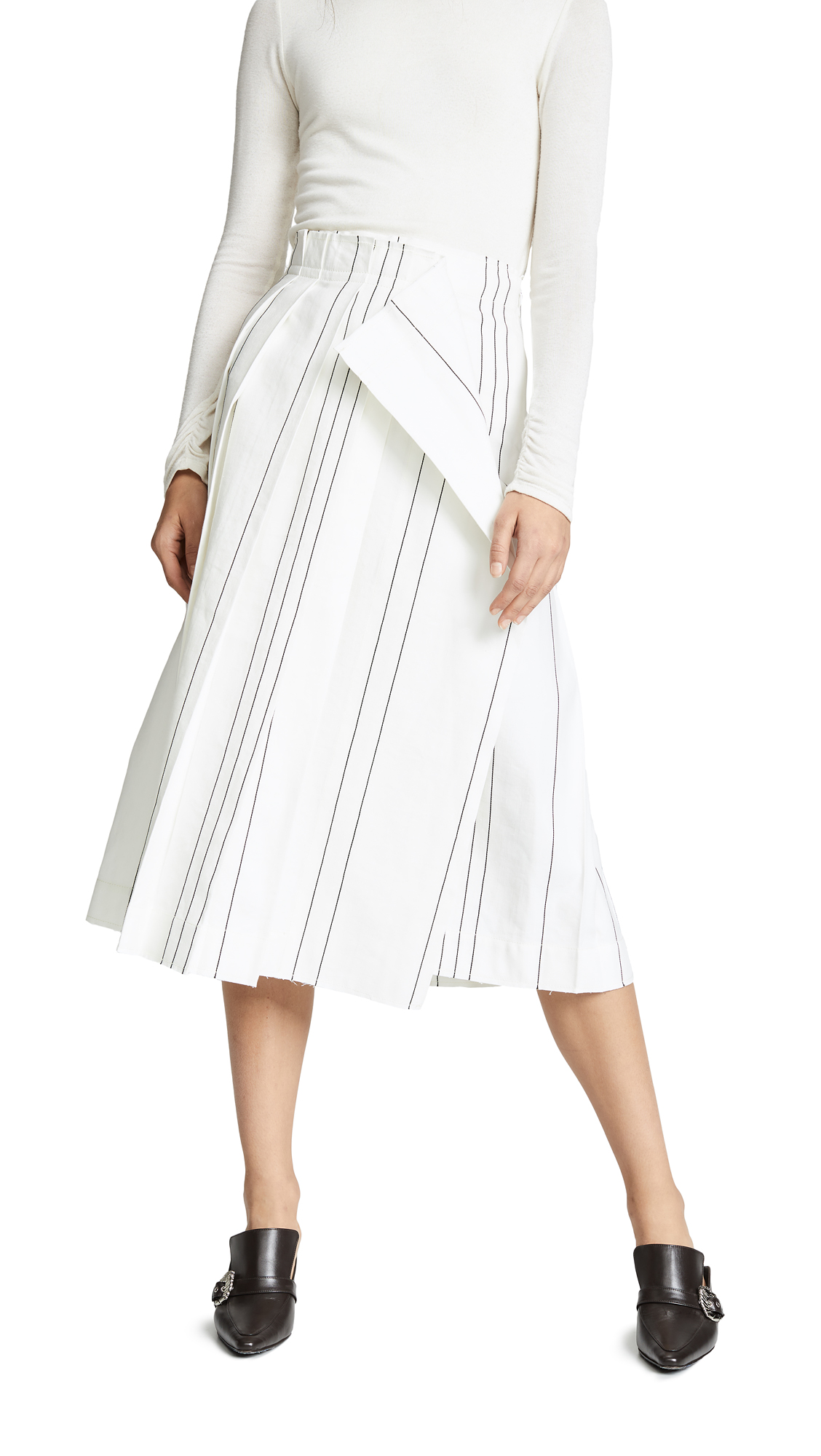 Cedric Charlier Pleated Midi Skirt - Fantasy Print White