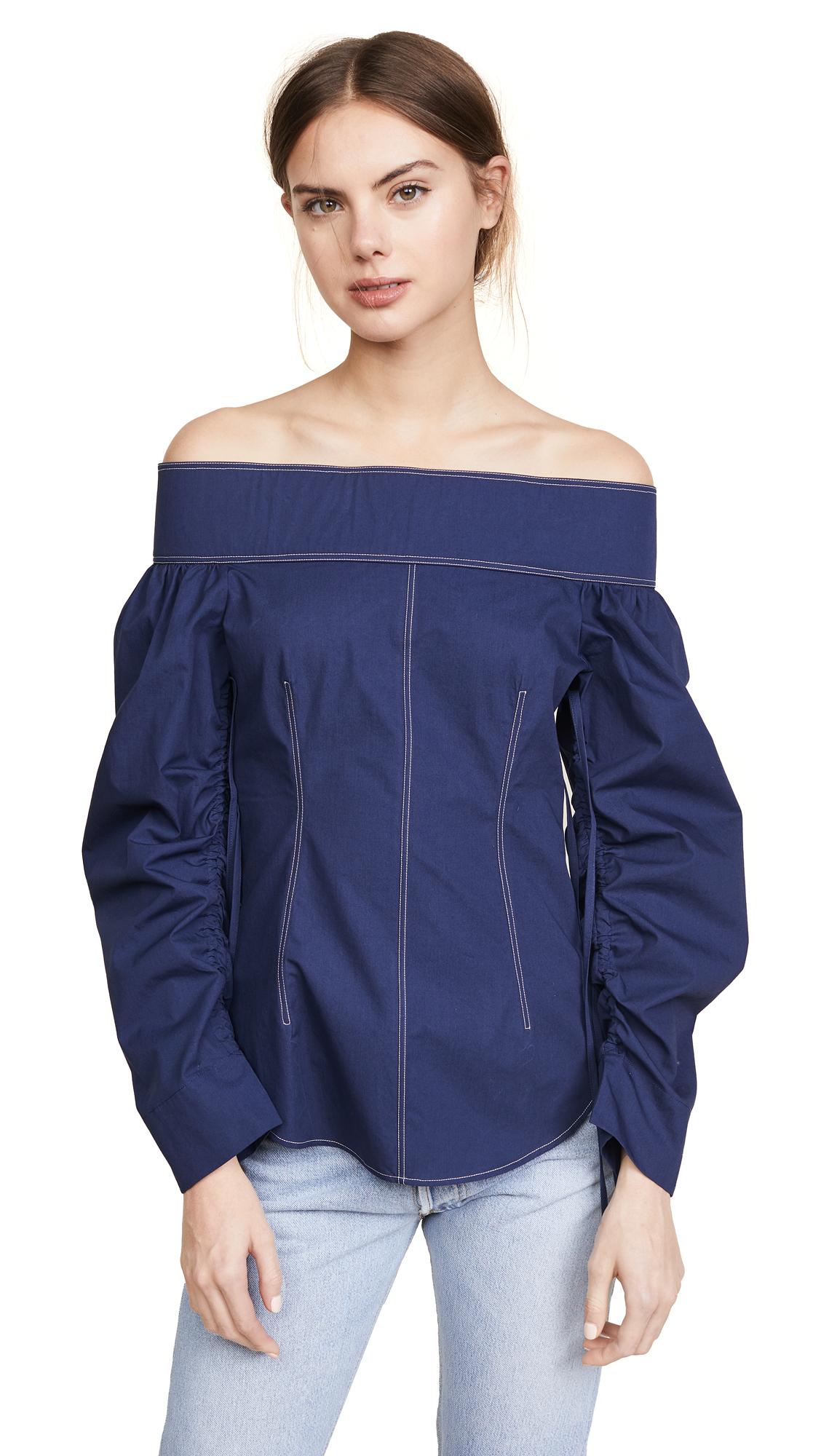 Cedric Charlier Shirting Off Shoulder Top - Blue