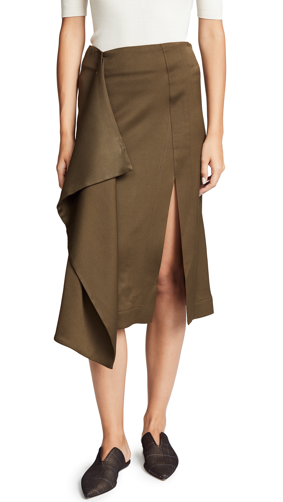 Cedric Charlier Asymmetrical Skirt In Green