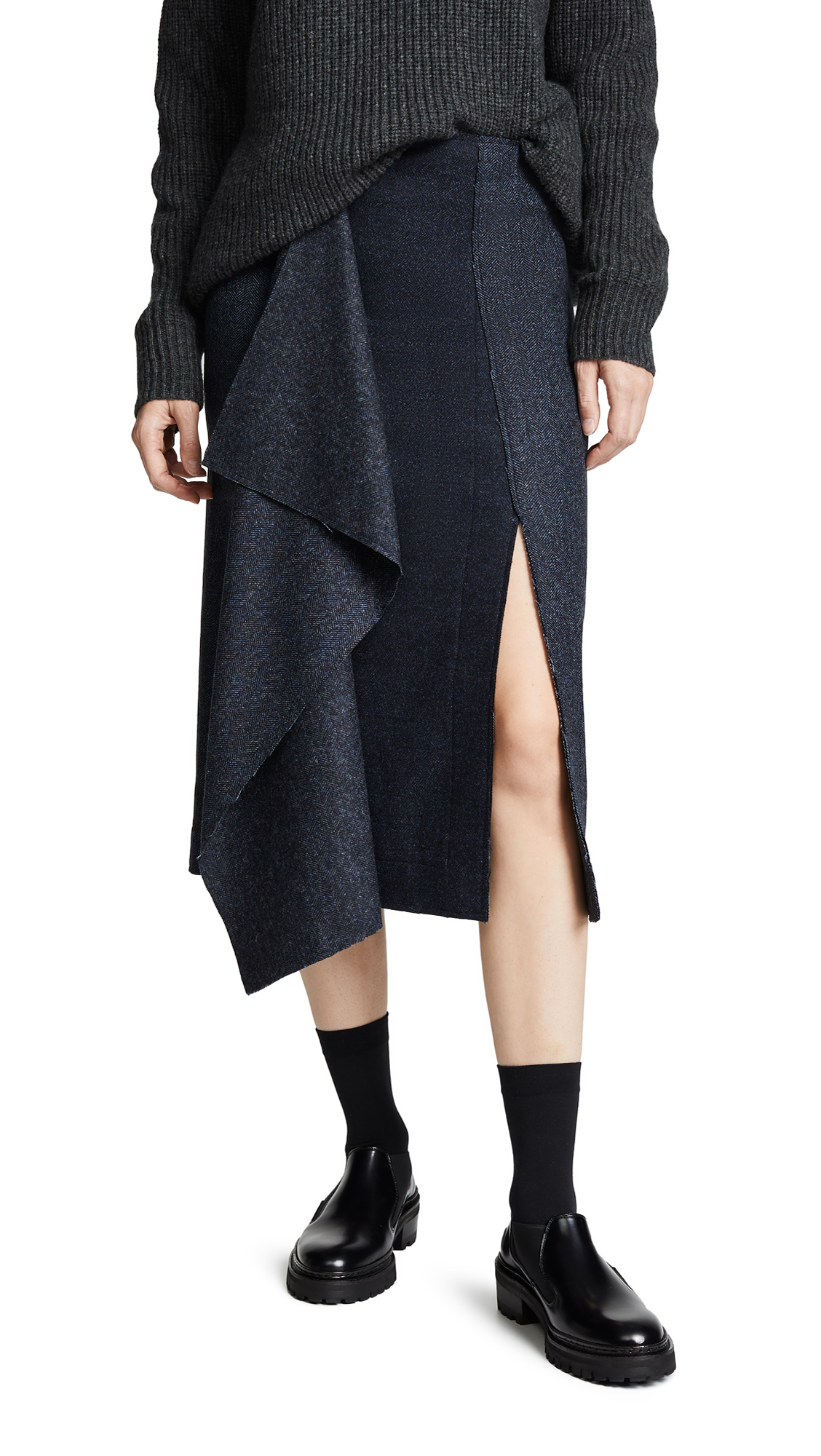 Cedric Charlier Asymmetric Skirt - Fantasy Print/Light Blue