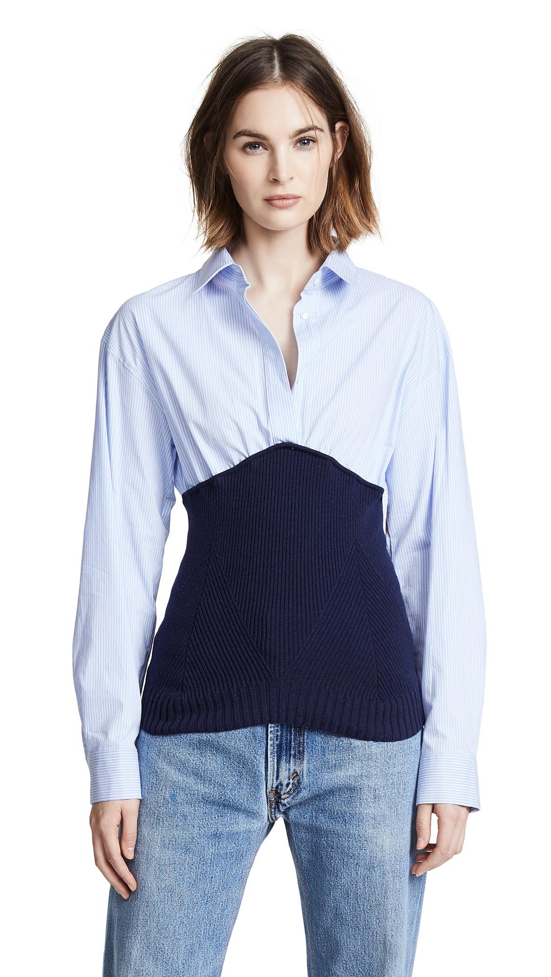 Cedric Charlier Knit Shirt Combo Top - Fantasy Print