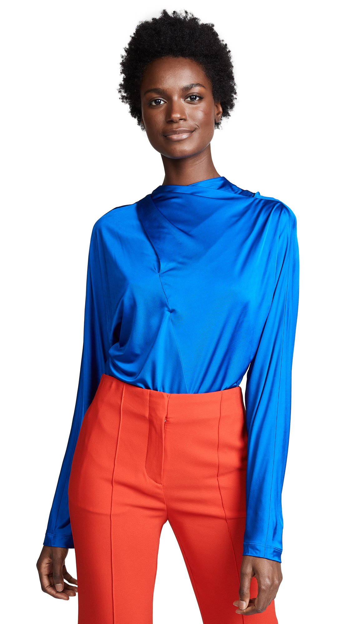 Cedric Charlier Draped Top - Blue