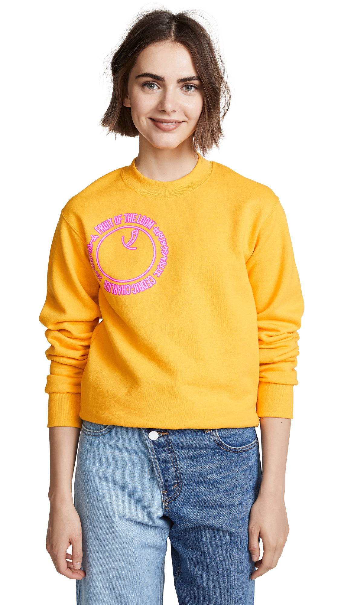 Cedric Charlier x Fruit of the Loom Graphic Logo Pullover - Yellow