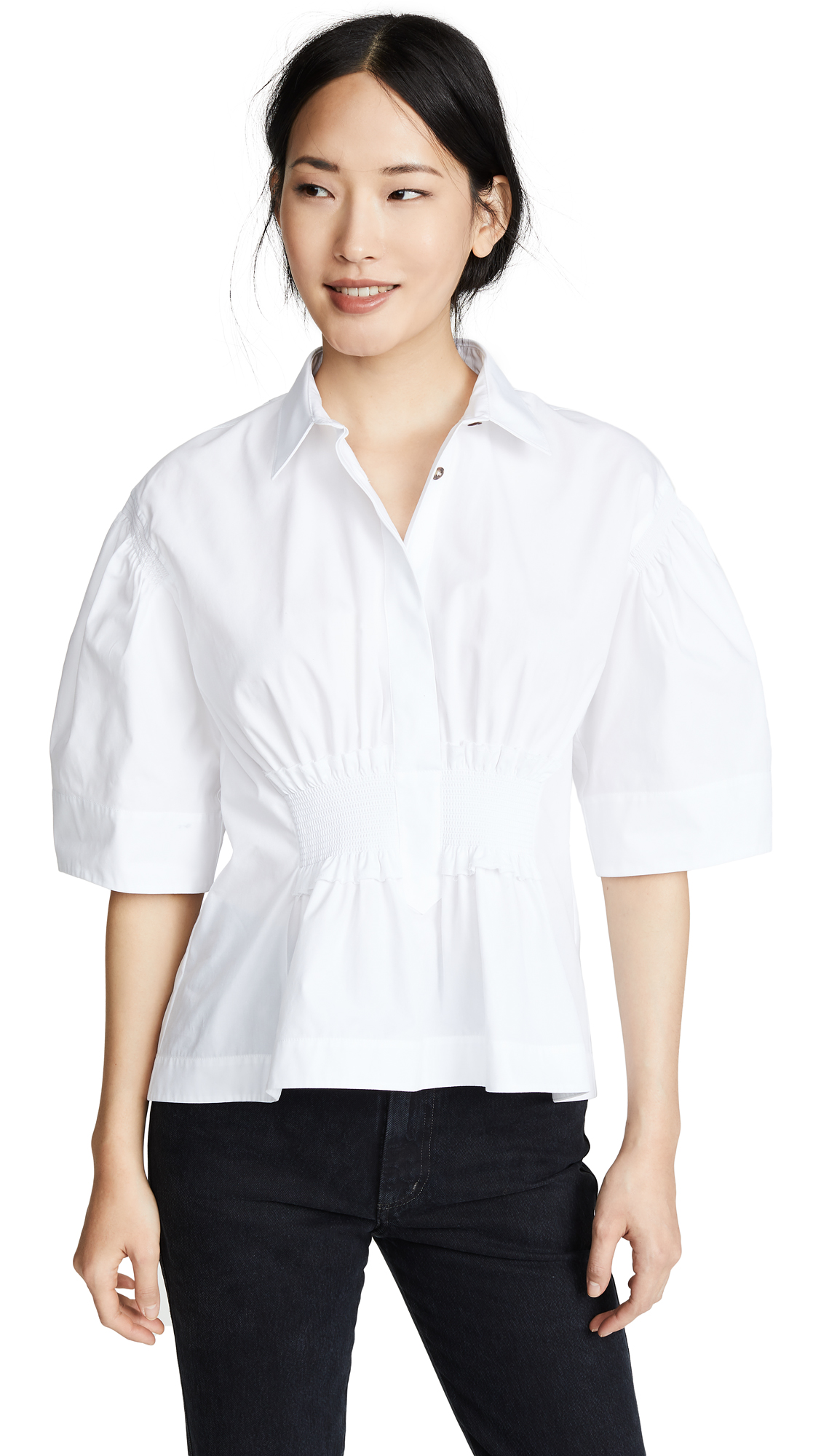 Cedric Charlier Cinched Waist Collared Shirt - White