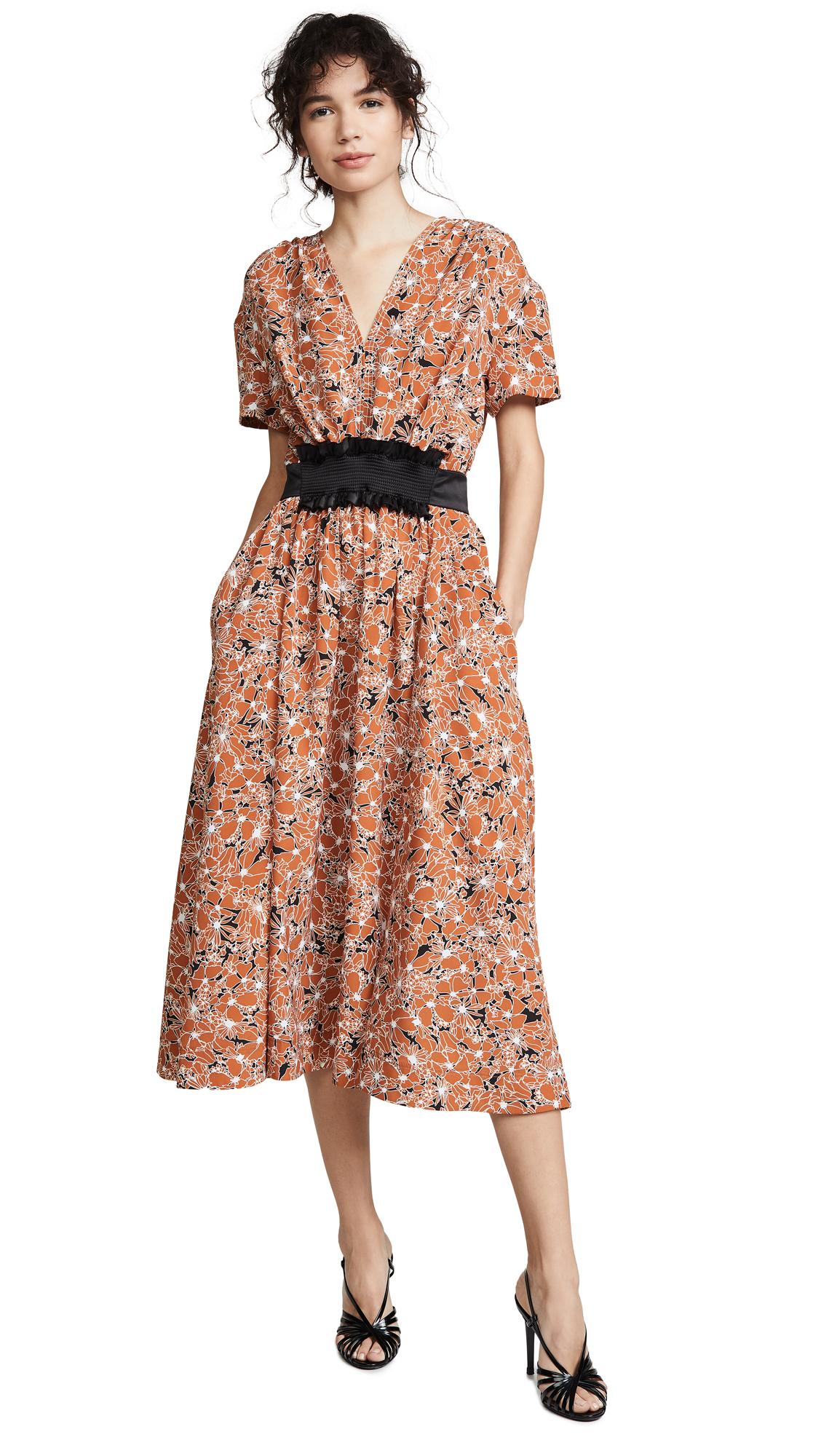 Cedric Charlier Floral Dress - Camel Floral