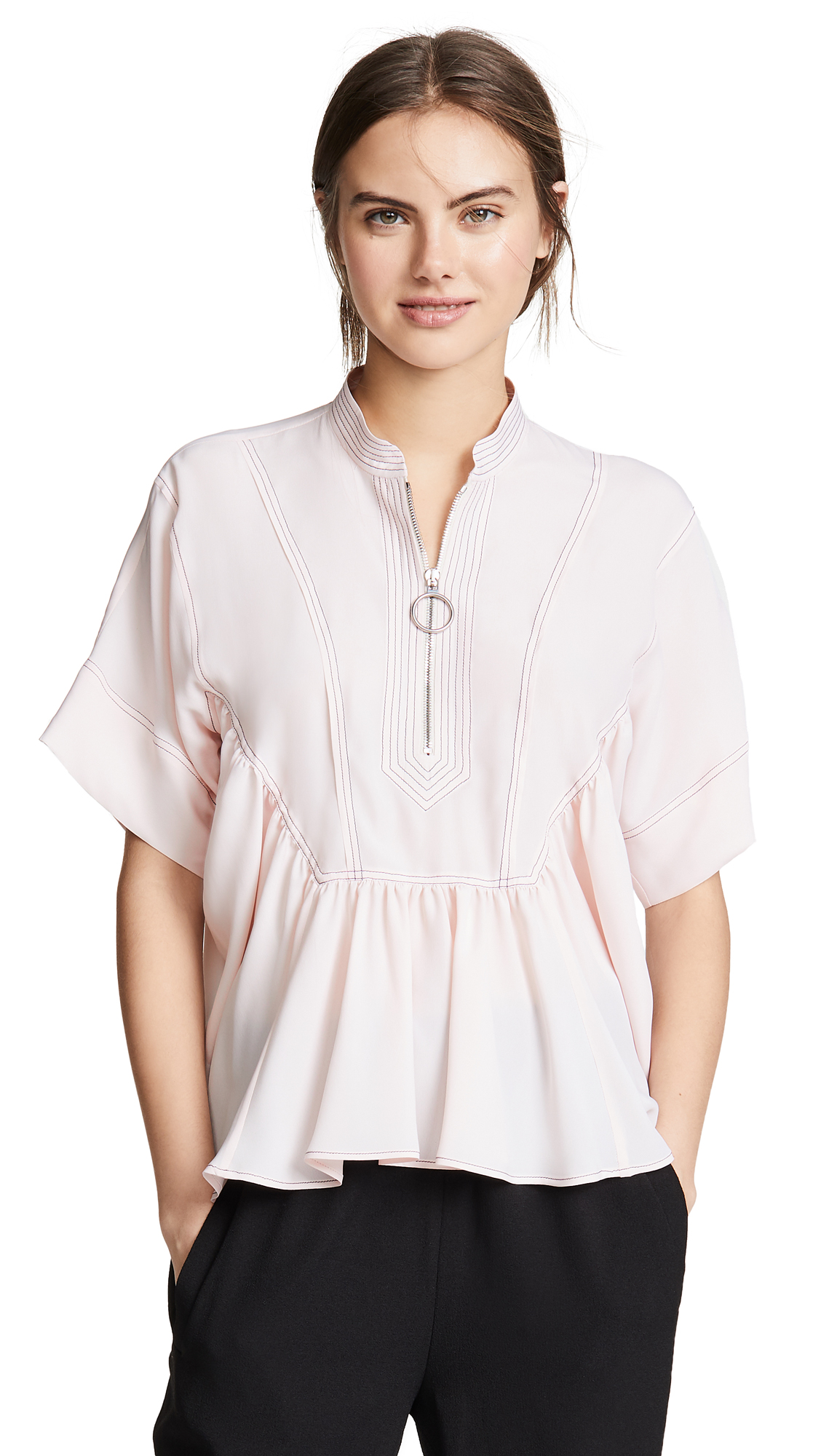 Cedric Charlier Puff Sleeve Blouse - Pink