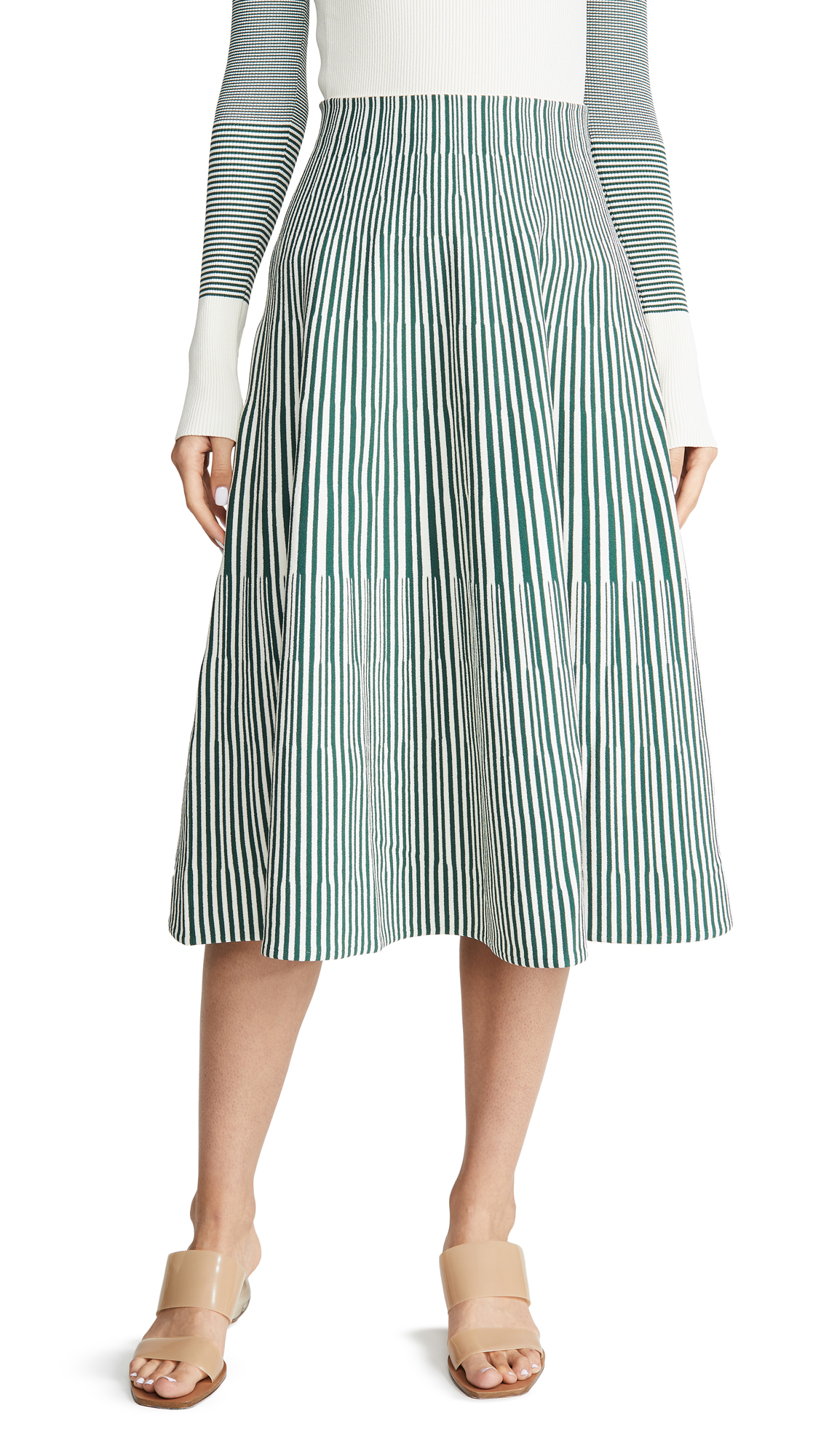 Cedric Charlier Midi Skirt - Stripe