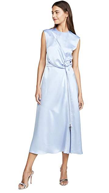 Cedric Charlier Satin Wrap Dress