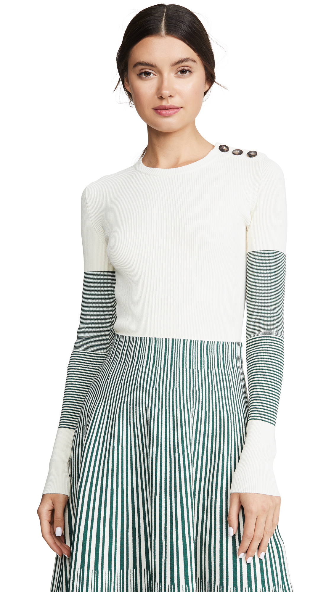 Cedric Charlier Contrast Sleeve Sweater - White/Grey