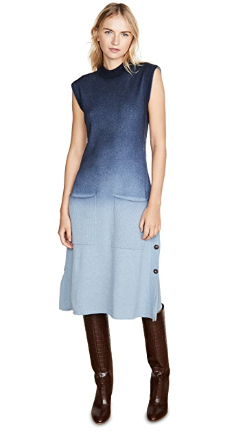 Cedric Charlier Blue Ombre Sweater Dress
