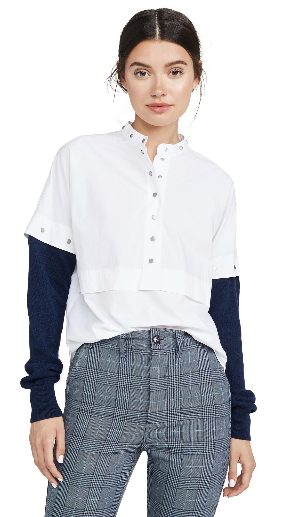 Cedric Charlier Contrast Sleeve Shirt - White/Navy