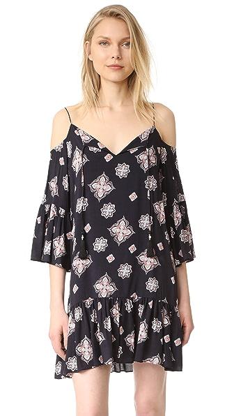 Cooper & Ella Mirella Cold Shoulder Dress - Scarf Motif Print