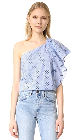 Cooper & Ella Livia One Shoulder Top - Baby Blue