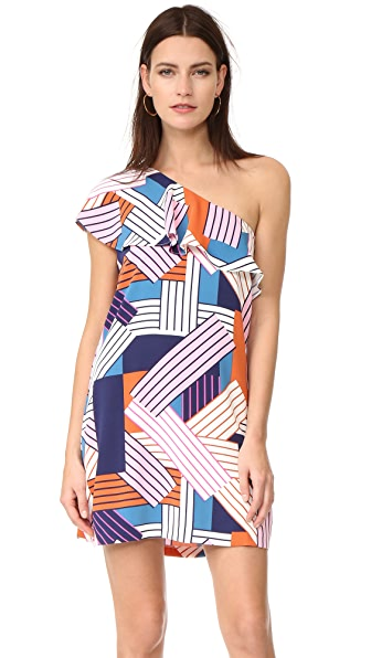 Cooper & Ella Brooke One Shoulder Dress In Geometric Stripes