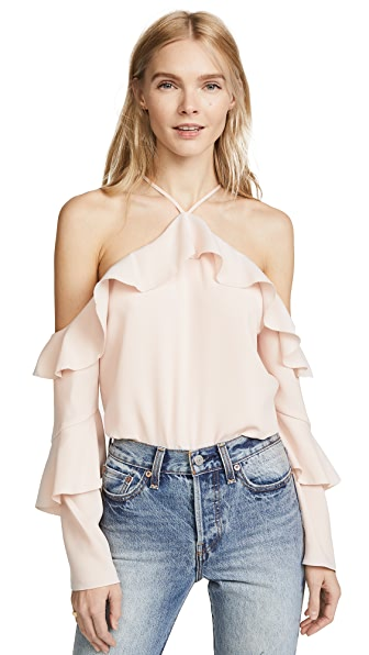 Cooper & Ella Ruffle Cold Shoulder Blouse In Pale Pink