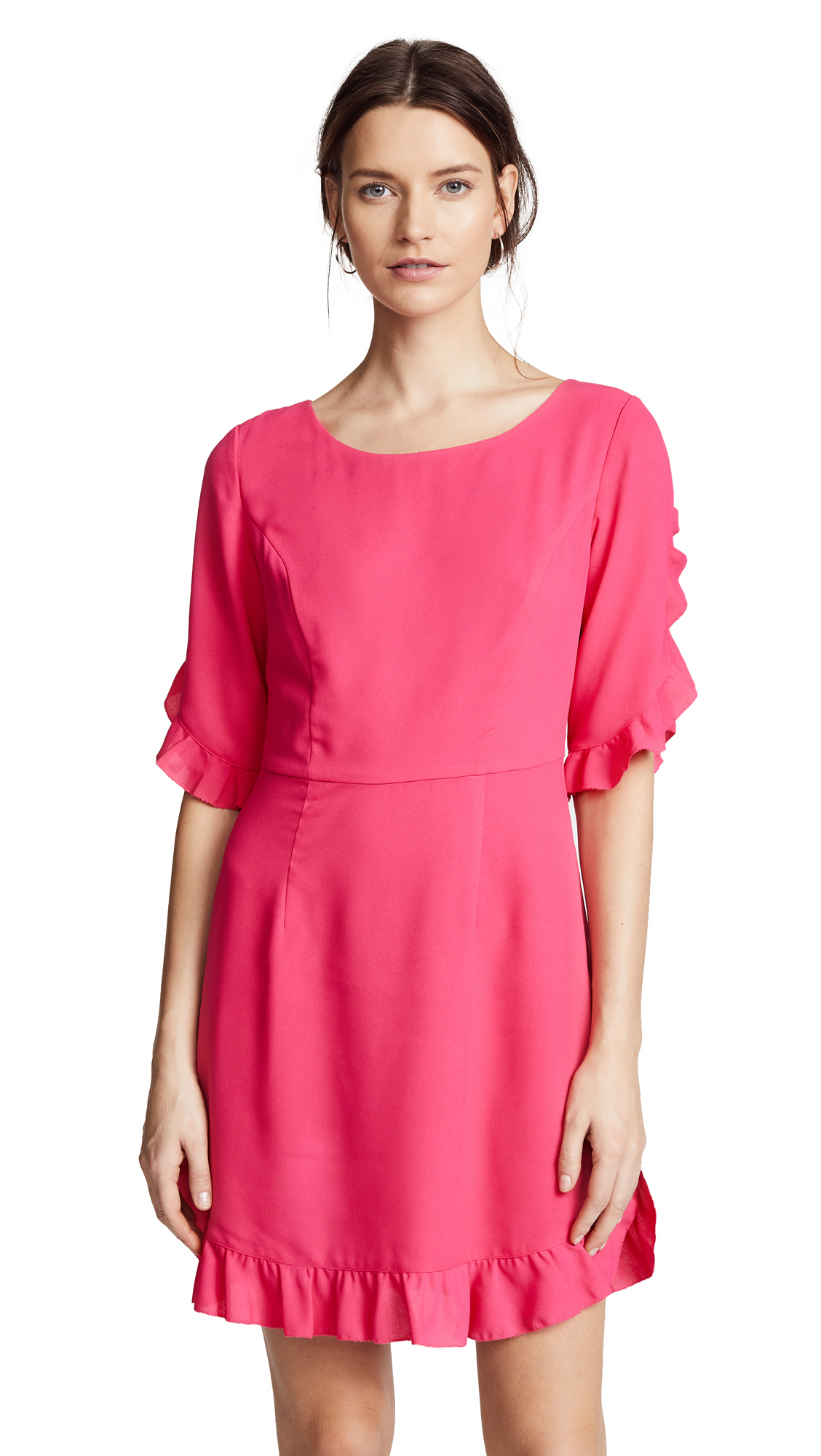 Cooper & Ella Milou Ruffle Dress In Hot Pink