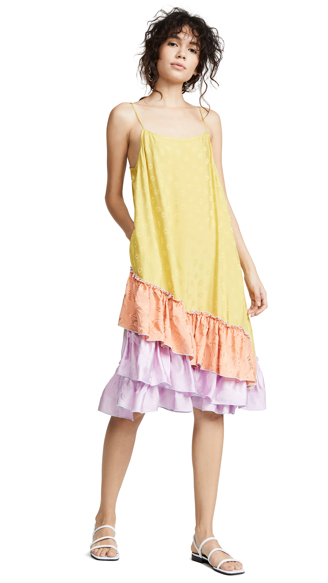 CF Goldman Short Ruffle Slip Dress - Purple/Orange/Yellow