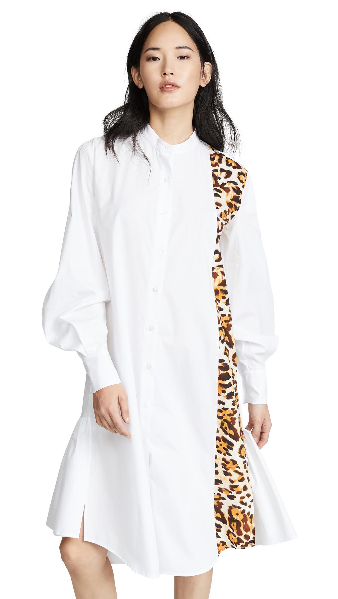 CF Goldman Peplum Shirtdress - White/Leopard