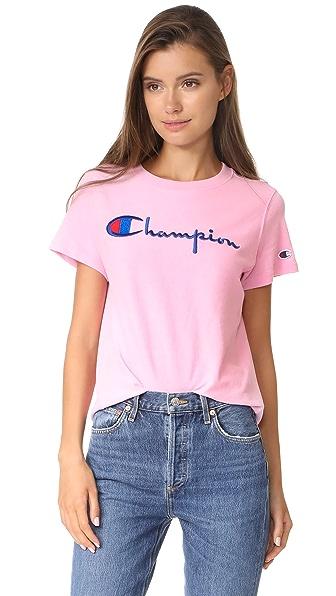Champion Premium Reverse Weave Crew T Shirt - Pink