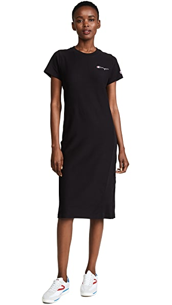 Champion Premium Reverse Weave T-Shirt Dress In Black
