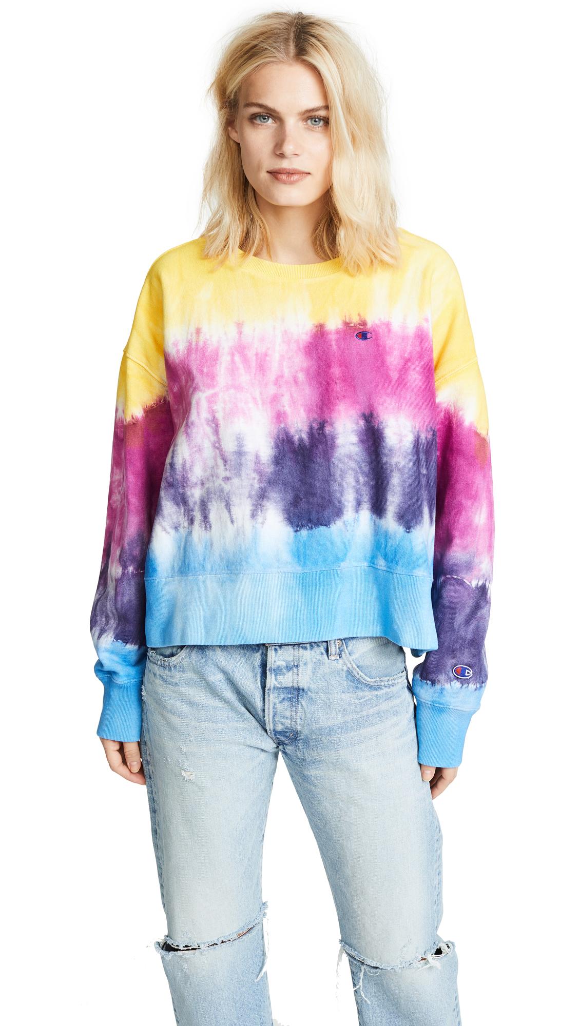 Champion Premium Reverse Weave Crewneck Sweatshirt - Coral/Pink/Pink/Blue