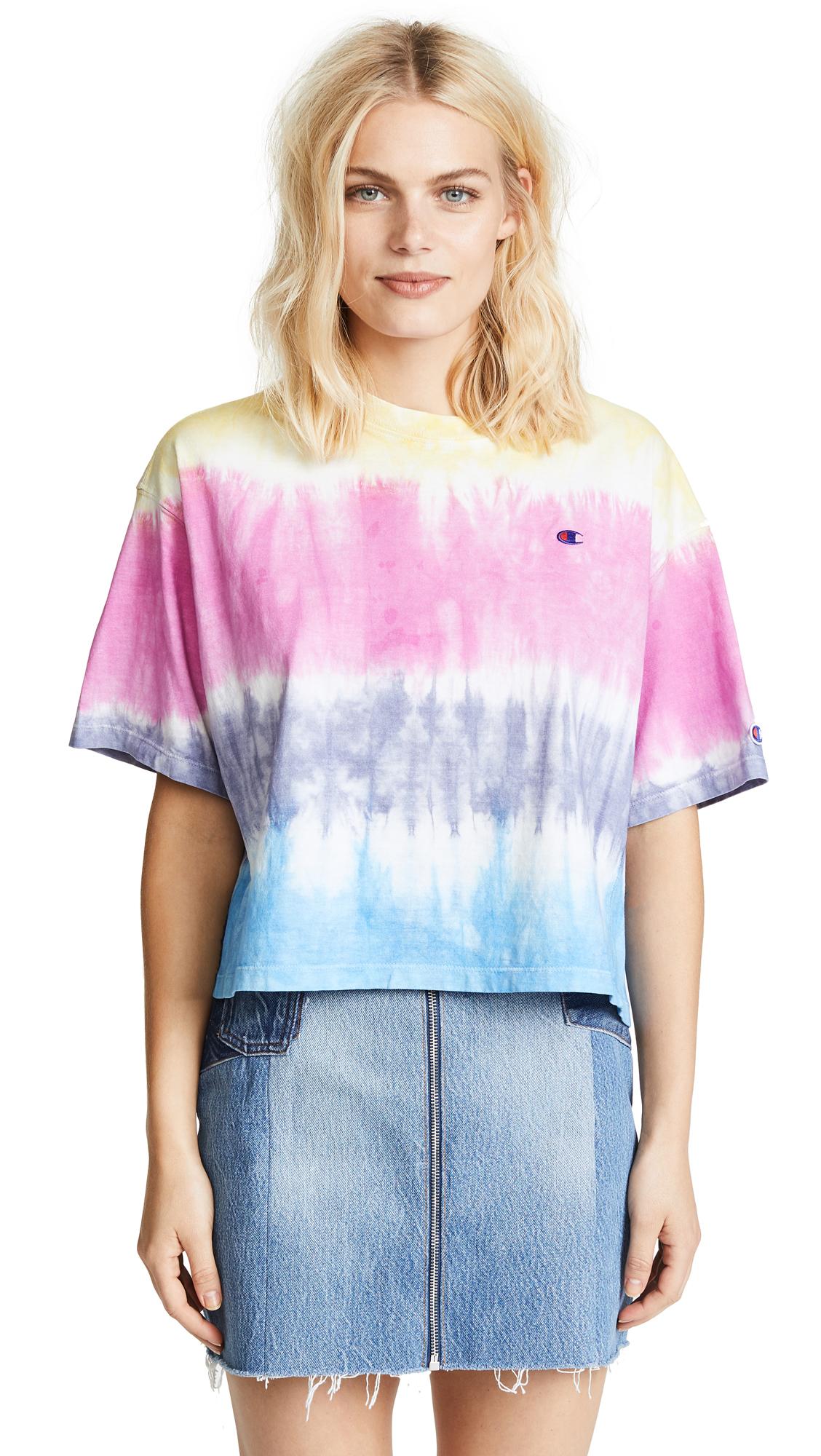 Champion Premium Reverse Weave Oversize T-Shirt - Coral/Pink/Pink/Blue
